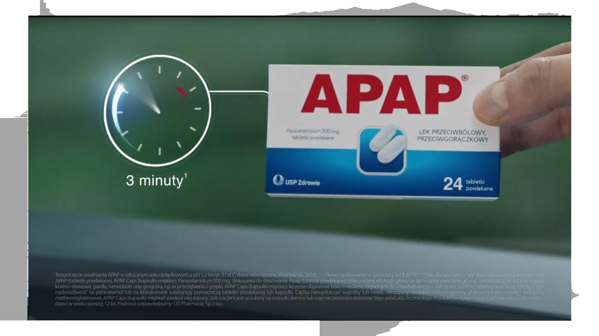 Kadr z produktem apap w spocie telewizyjnym